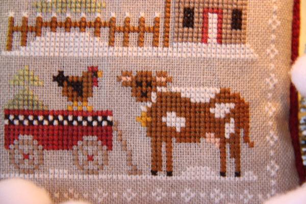 cross stitch Farmhouse Christmas Daisy Koe en haar vriendin Kippie