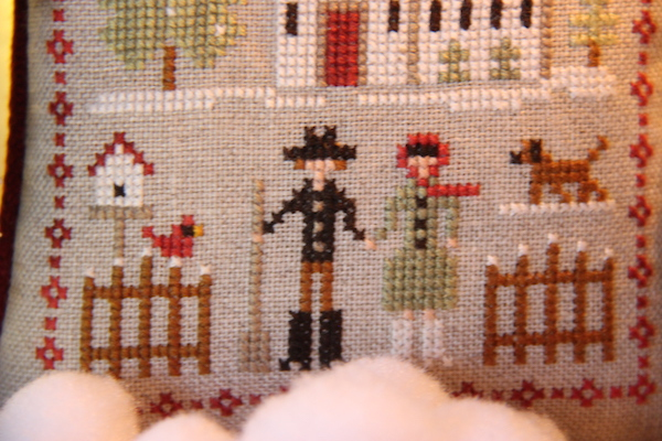 cross stitch Farmhouse Christmas farm folk opa en oma