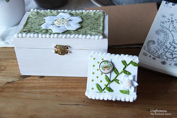 mooie wit met groene combinatie van schatkist met luciferdoosje