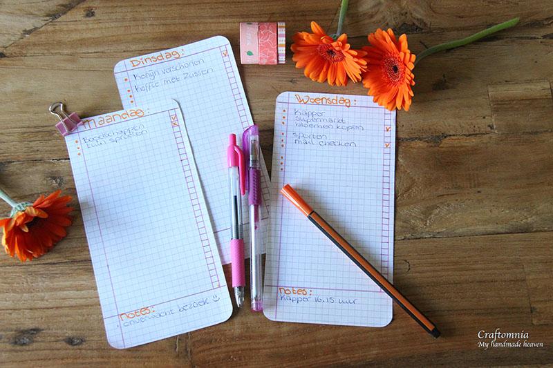 vrolijke takenlijstjes in oranje en roze