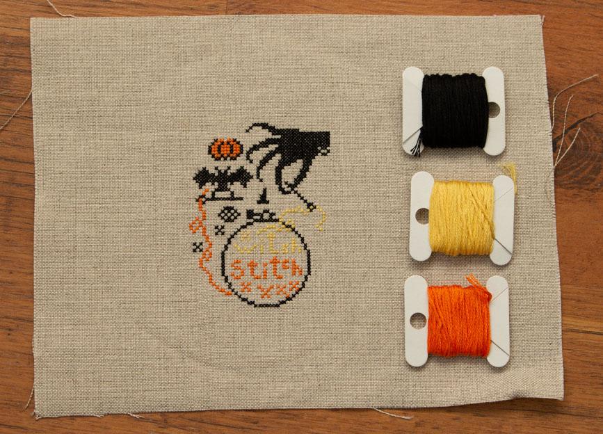 Handwerkproject: Spooky Stitching op linnen met DMC
