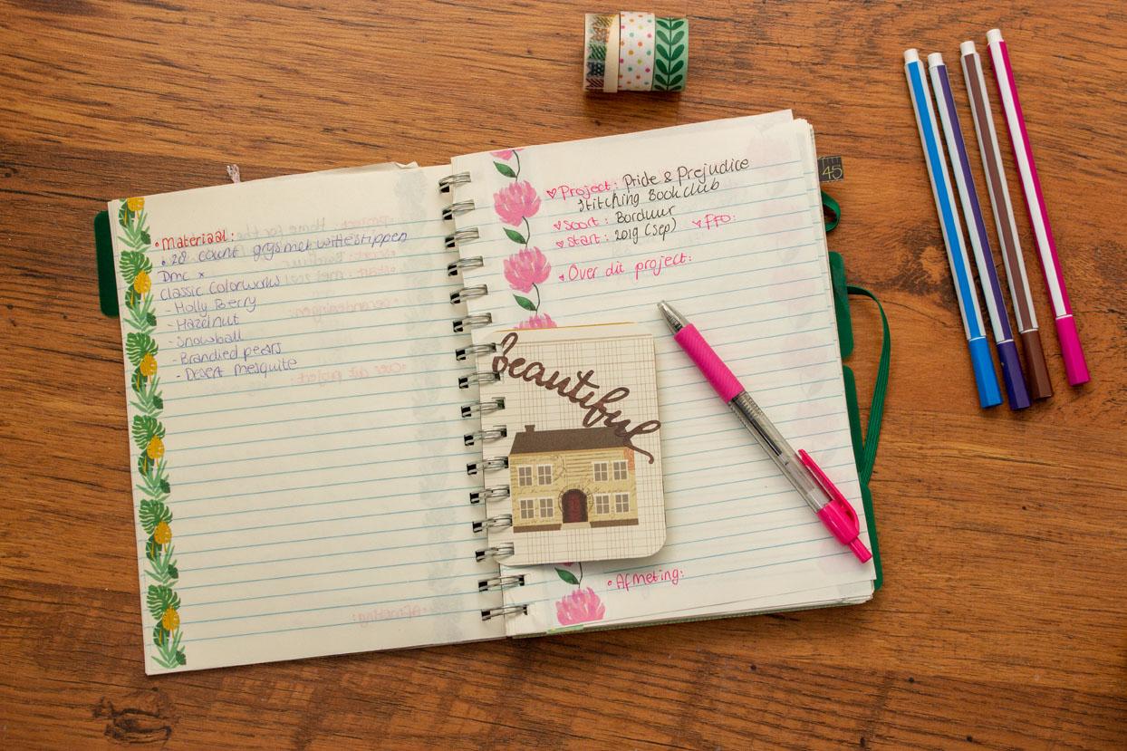 Een pagina uit mijn Stitching Journal